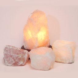 Rose Quartz Crystal Lamp Set 4 Pieces S348-1 | Himalayan Salt Factory