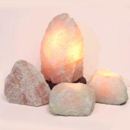 Rose Quartz Crystal Lamp Set 4 Pieces S349-1 | Himalayan Salt Factory