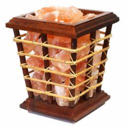 5kg Himalayan Salt Chunks Bamboo Fire Basket Lamp | Himalayan Salt Factory