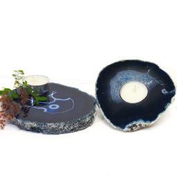 Brazilian Crystal Agate Plate WIth Agate Tea Light Candle Holder J683 | Himalayan Salt Factory