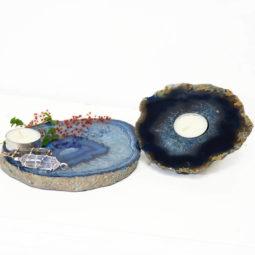 Brazilian Crystal Agate Plate WIth Agate Tea Light Candle Holder J685 | Himalayan Salt Factory