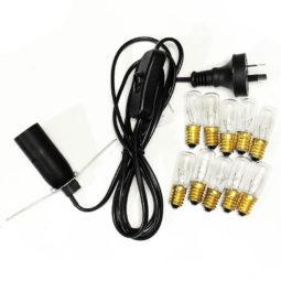 Crystal Lamp Power Cord – Black + 10 Bulbs (7W) (220V-240V) | Himalayan Salt Factory