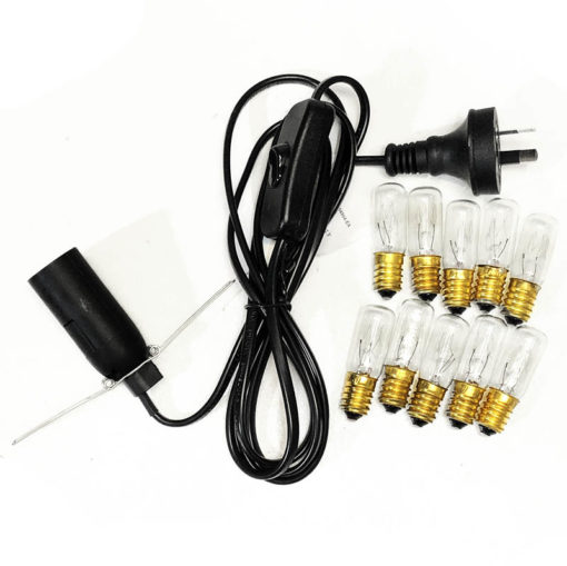 Crystal Lamp Power Cord – Black + 10 Bulbs (7W) (220V-240V)   Himalayan Salt Factory