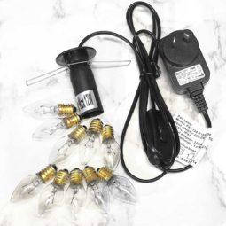 Himalayan Salt Lamp Power Cord – Black + 10 Bulbs (12W-12V) (12V DC)   Himalayan Salt Factory