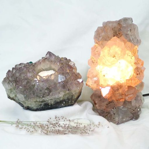 Natural Amethyst Crystal Lamp with Tea Light Candle Holder Set 2 Pieces S489-2