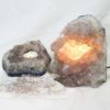 Natural Amethyst Crystal Lamp with Tea Light Candle Holder Set 2 Pieces S491-2