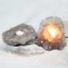 Natural Amethyst Crystal Lamp with Tea Light Candle Holder Set 2 Pieces S492-2