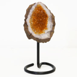 Citrine Cluster on Metal Stand - Small   Himalayan Salt Factory