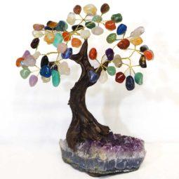 Mixed Gemstone Bonsai Tree on Amethyst Cluster 20cm | Himalayan Salt Factory