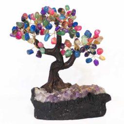 Mixed Gemstone Bonsai Tree on Amethyst Cluster 25cm | Himalayan Salt Factory