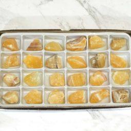 Orange Calcite Flat 24 Pieces Tray | Himalayan Salt Factory