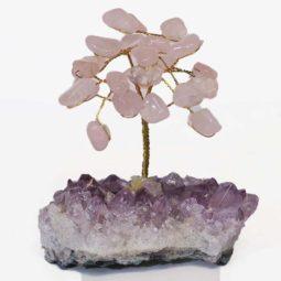Rose Quartz Gemstone Tree - Mini | Himalayan Salt Factory