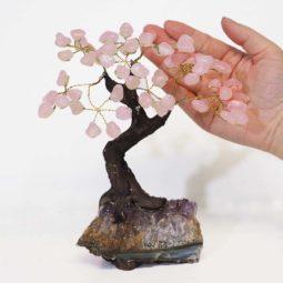 Roser Quartz Gemstone Bonsai Tree on Amethyst Cluster 20cm | Himalayan Salt Factory