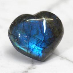 Labradorite Heart Palm Stone - Medium   Himalayan Salt Factory