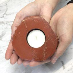 Red Jasper Tealight Candle Holder – Polished   Himalayan Salt Factory