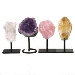Mixed Small Crystal on Metal Stand Set 4   Himalayan Salt Factory