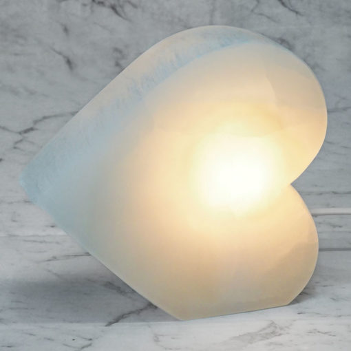 Selenite Heart Lamp (No Base)   Himalayan Salt Factory