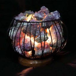Amethyst Crystal Druze Rough Amore Lamp | Himalayan Salt Factory