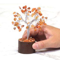 Carnelian Mini Gemstone Tree With Timber Base | Himalayan Salt Factory