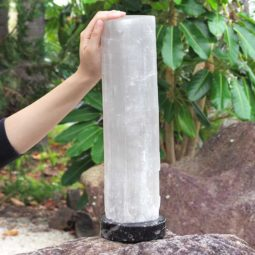 Selenite Lamp with Ancient Fossil Orthoceras Base 40cm   Himalayan Salt Factory