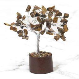 Tiger Eye Mini Gemstone Tree With Timber Base   Himalayan Salt Factory