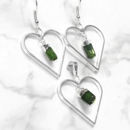 Green Black Tourmaline Lovers Heart Pendant and Earring Set - BRLHGBT | Himalayan Salt Factory