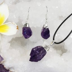 Raw Amethyst Electroformed Points Pendant and Earring Set - BREAMP   Himalayan Salt Factory