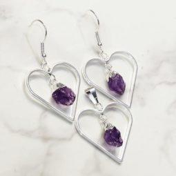 Raw Amethyst Gemstone Lovers Heart Pendant and Earring Set - BRLHA   Himalayan Salt Factory