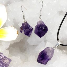 Raw Amethyst Points Pendant and Earring Set - BRAMP   Himalayan Salt Factory