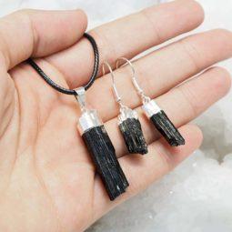 Raw Black Tourmaline Electroformed Jewelry Set - BRBT   Himalayan Salt Factory