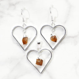 Raw Citrine Gemstone Lovers Heart Pendant and Earring Set - BRLHC   Himalayan Salt Factory