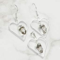 Raw Crystal Gemstone Lovers Heart Pendant and Earring Set - BRLHCRY | Himalayan Salt Factory