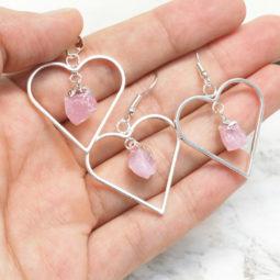 Raw Rose Quartz Gemstone Lovers Heart Pendant and Earring Set 1 - BRLHRQ | Himalayan Salt Factory