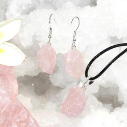 Raw Rose Quartz Points Pendant and Earring Set - BRARQ   Himalayan Salt Factory