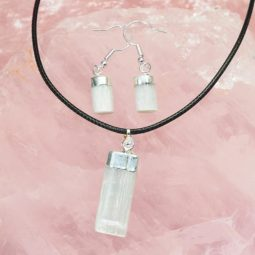 Raw Selenite Electroformed Pendant and Earring Set - BRESEL   Himalayan Salt Factory