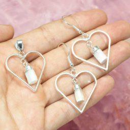 Raw Selenite Gemstone Lovers Heart Pendant and Earring Set - BRLHSL | Himalayan Salt Factory