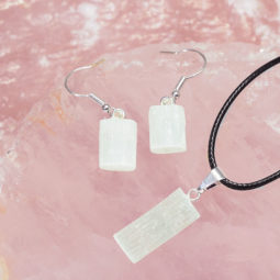 Raw Selenite Pendant and Earring Set - BRASEL   Himalayan Salt Factory