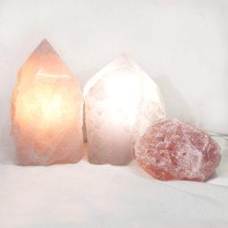 Rose Quartz Point Lamp with rough Set 3   Himalayan Salt Factory