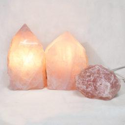 Rose Quartz Point Lamp with rough Set 3 | Himalayan Salt Factory