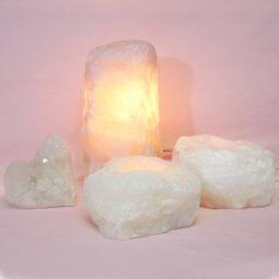 1.4kg Rose Quartz Crystal Lamp Set 4 pieces S386-1   Himalayan Salt Factory