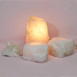 1.72kg Rose Quartz Crystal Lamp Set 4 pieces S385-1   Himalayan Salt Factory