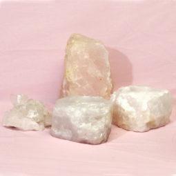 1.72kg Rose Quartz Crystal Lamp Set 4 pieces S385   Himalayan Salt Factory