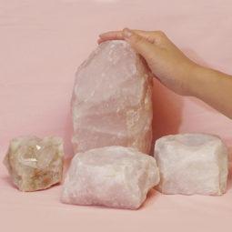 2.3kg Rose Quartz Crystal Lamp Set 4 pieces S389-1   Himalayan Salt Factory