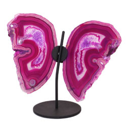 Agate Crystal Butterfly Slices on Metal Stand N385 | Himalayan Salt Factory