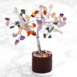 Mixed Crystal Mini Gemstone Tree With Timber Base | Himalayan Salt Factory