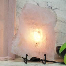 Natural Sliced Rose Quartz Crystal Lamp J73   Himalayan Salt Factory
