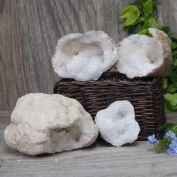 Natural Calcite Geode Pair – 2 Small Geodes Set N462 | Himalayan Salt Factory
