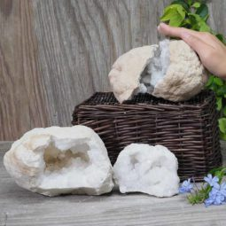 Natural Calcite Geode Pair – 2 Small Geodes Set N464 | Himalayan Salt Factory