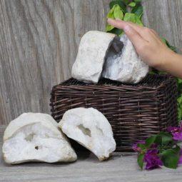 Natural Calcite Geode Pair – 2 Small Geodes Set N469 | Himalayan Salt Factory