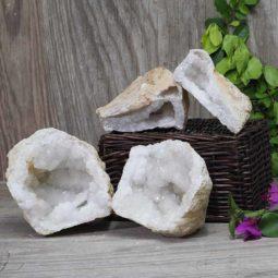 Natural Calcite Geode Pair – 2 Small Geodes Set N472 | Himalayan Salt Factory